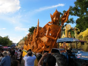 Floats on display following the day of the parade, Ubon Ratchathani candle festival