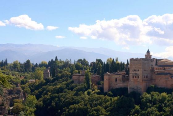 The Alhambra with the Sierra Nevada mountains in the background