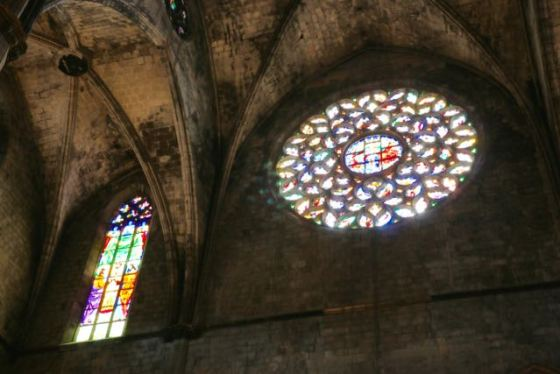 the rose window above the entrance