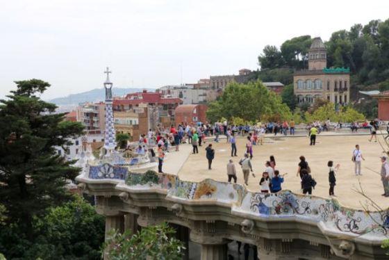 the terrace overlooking Barcelona