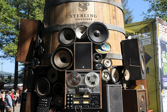 This massive Sterling wine barrel adorned with speakers serves as an iconic BottleRock logo.  (Photo by Kara E. Murphy)