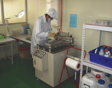 Worker in a cleanroom at the plant in Taiwan