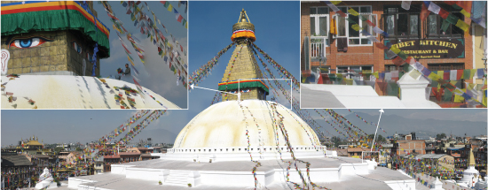 A high-resolution composite photograph shows a monk atop a temple in Nepal, the temple at a distance, and a restaurant behind the temple.