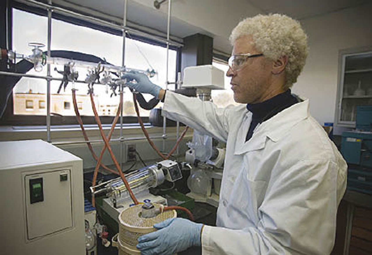 Chemical engineer Robert Bryant works with Langley Research Center's Soluble Imide (LaRC-SI).