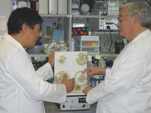 Two scientists examine a bioreactor.