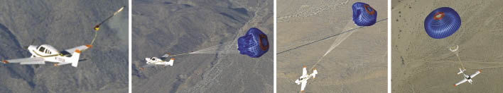 Parachute arresting the descent of an aircraft