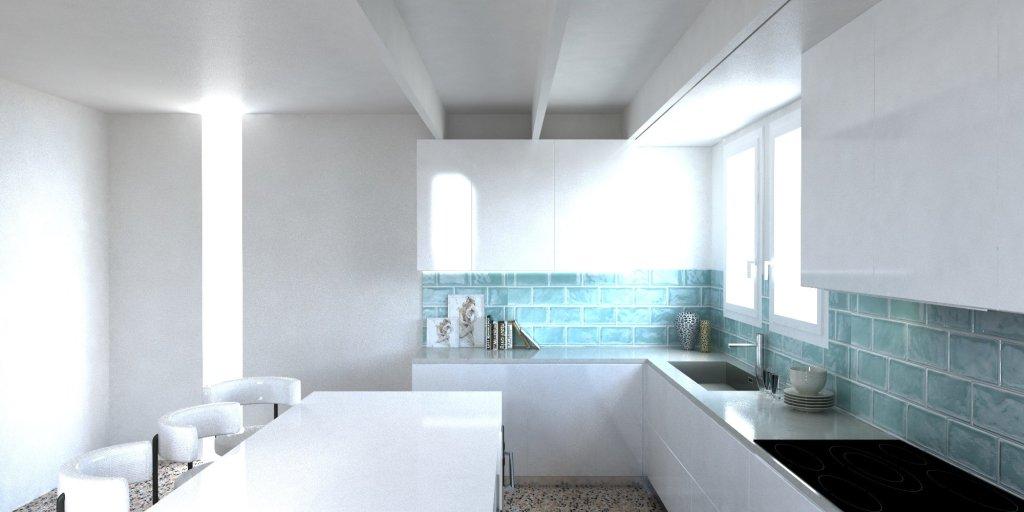 Render Cucina moderna americana parete in vetro diamantato verde 3 | SP Interior Design