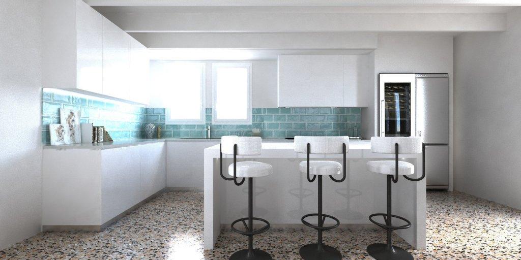 Render Cucina moderna americana parete in vetro diamantato verde 2 | SP Interior Design