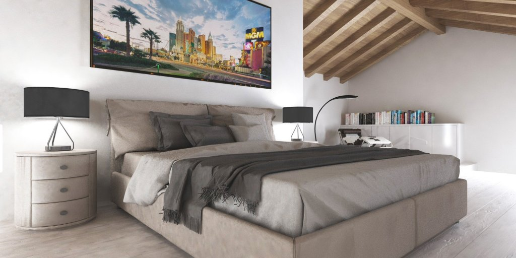Render di una camera da letto in collaborazione Arch.Iannone | SP Interior Design