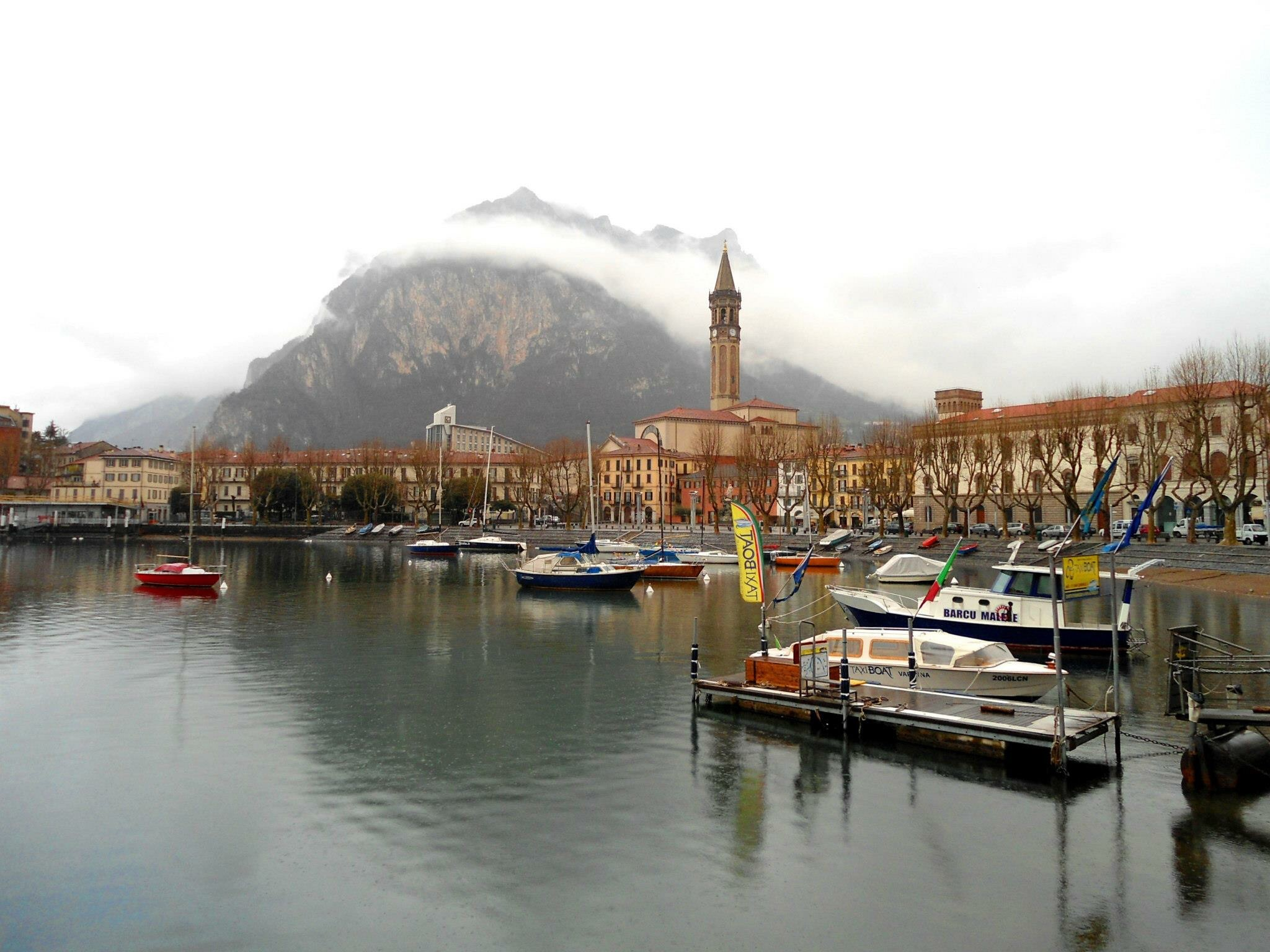 Moody clouds at Lake Como in Lecco, Italy