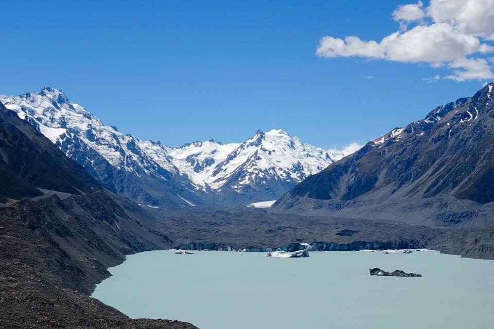 Tasman Glacier and the glacial lake - those icebergs are huge!