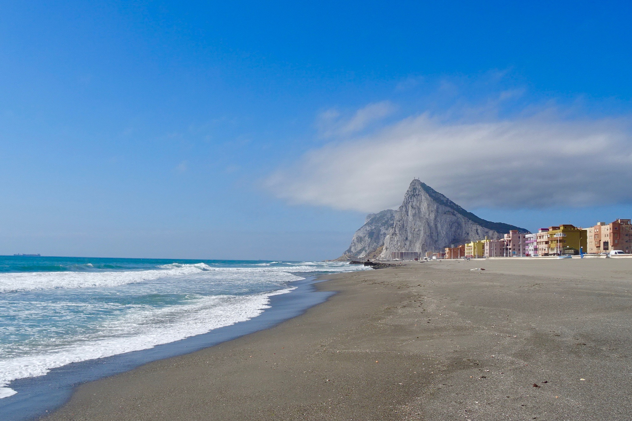 The view of the Rock of Gibraltar from Playa de Levante, La Línea, Spain