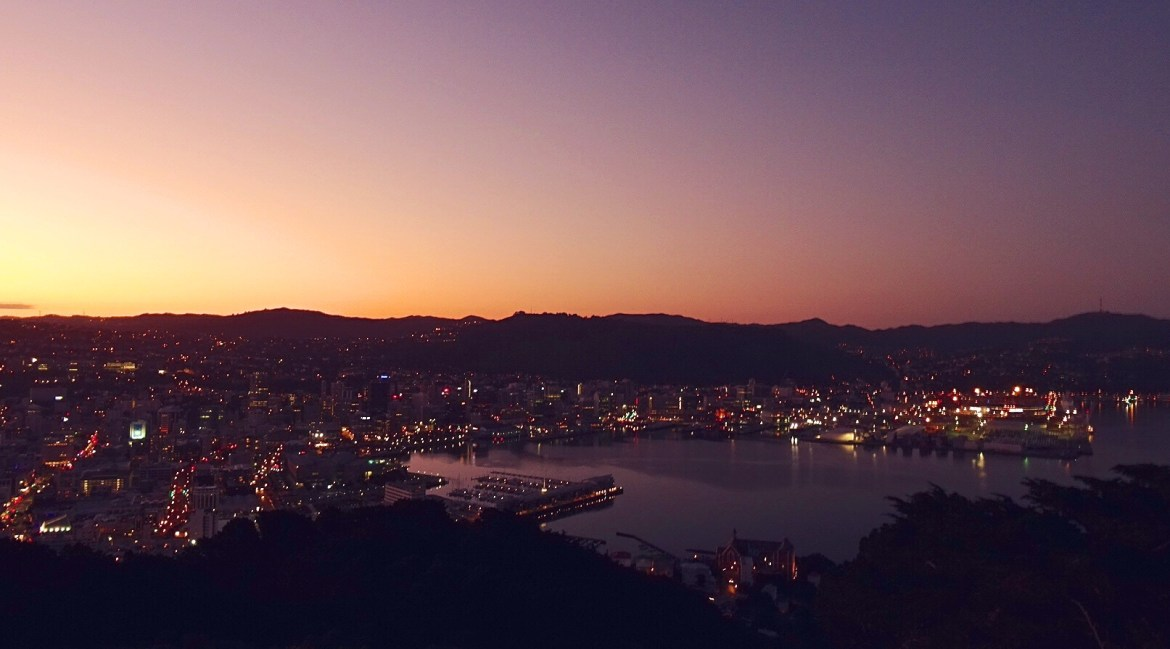 The view of Wellington from Mount Victoria at sunset