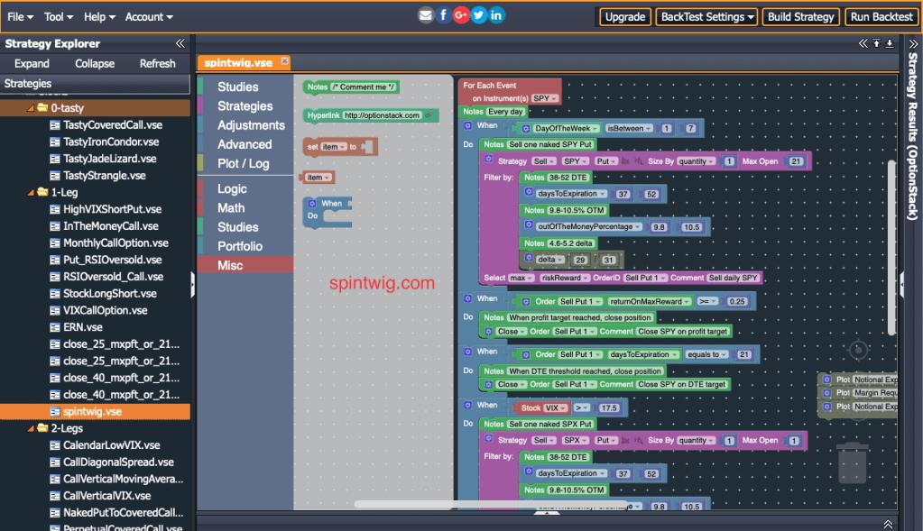 backtesting - optionstack logic