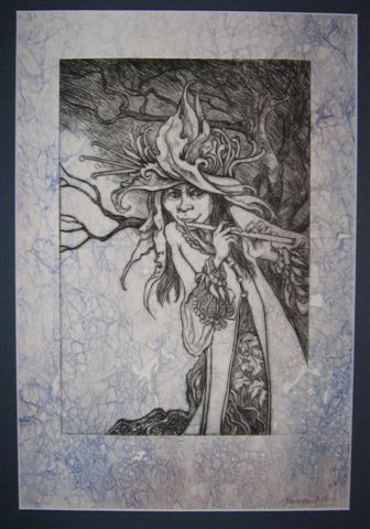 """T Naomi Lewis """"Chloe, Goddess of All Green Things"""" Drypoint print 30 x 43 cm"""