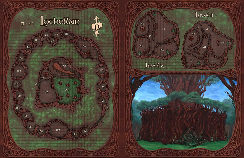 2-Page spread of Lothellain, the elven woodland fortress