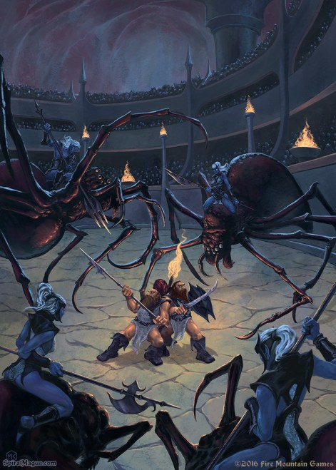 Dwarven captives in the drow arena