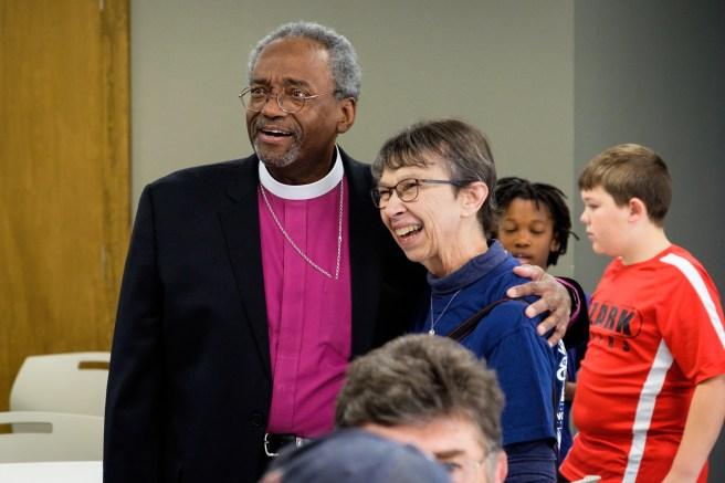 The presiding Bishop with Duchess Matheson Wall, St. Paul's Episcopal Church, Kansas City. Image credit: Gary Allman