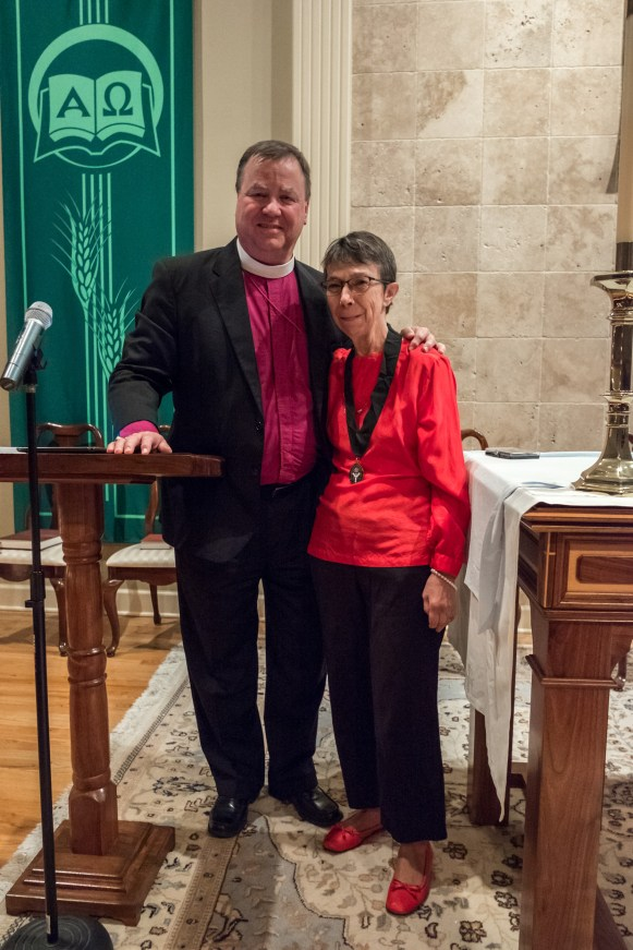 Bishop's Shield Recipient Duchess Wall with Bishop Marty. Bishop's Ball 2017 Image credit: Gary Allman
