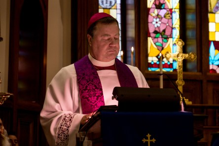 Bishop Marty pauses while reading the sermon Image credit: Gary Allman