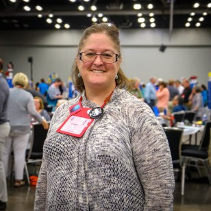 Alternate Deputy Christine Morrison, Grace and Holy Trinity Cathedral, Kansas City, in the House of Deputies. Christine is also a Lay Eucharistic Minister. Image: Gary Allman