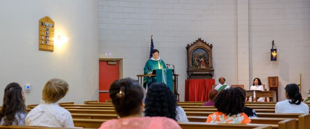Fr. Chas delivering the sermon at St. Augustine's Image: Gary Allman