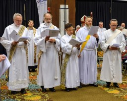 Deacons Jeff Hurst,Chandler Jackson, Sean Kim, Bradley Heuett, and Marco Serrano prepare to dismiss those in attendance at the opening Eucharist of the 129th Convention of The Diocese of West Missouri. Image: Gary Allman