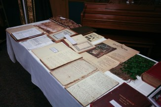 Archival table showing record 21 Mormon burials from Saluda 1852 explosion. Christ Church Lexington - 175th Anniversary. Image credit: Tim Ross