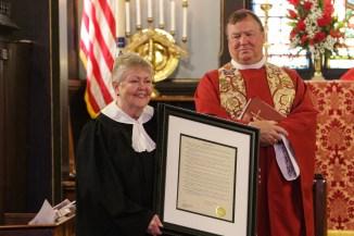 Sr. Warden Beverly Roggenkamp with Bishop Marty. Christ Church Lexington - 175th Anniversary. Image credit: Tim Ross