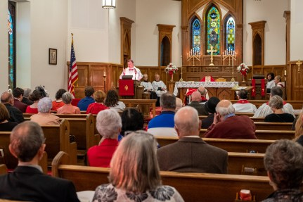 Bishop Marty delivering the sermon - The ordination of Melissa Roberts George to the Sacred Order of Deacons. Image credit: Gary Allman