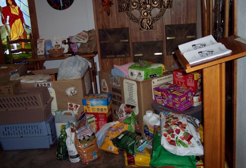 Goods collected for the Tr-Lakes Humane Society. Supplied image