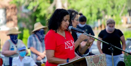 Prayer for Racial Justice - Sylvia Gaitan, St. Augustine's, Kansas City, Missouri, reading 2 Chronicles 1:7, 10. Image credit: Mary Ann Teschan