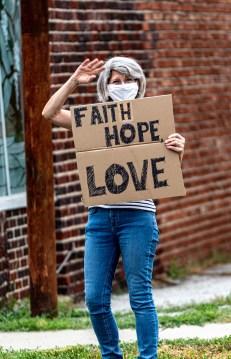 Pray on Troost. Juneteenth, June 19, 2020. Image credit: Mary Ann Teschan