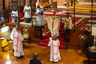 On Monday, November 16, 2020, at 6:30 p.m. Lynda Ann Hurt and Isaac Ross Petty were ordained into the Sacred Order of Deacons at St Mary's Episcopal Church, Kansas City, Missouri. Image credit: Mary Ann Teschan