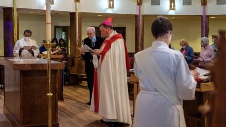 Fr. John Biggs, - Dedication of the Reredos Icons. Re-Dedication and Consecration of St. James Episcopal Church, Springfield, Missouri. Image credit: Gary Allman