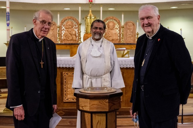 The current rector of St. James, Fr. Jos Tharakan (center), with previous rectors, Fr. Ross Stuckey (left), and Fr. John Biggs (right). Re-Dedication and Consecration of St. James Episcopal Church, Springfield, Missouri. Image credit: Gary Allman