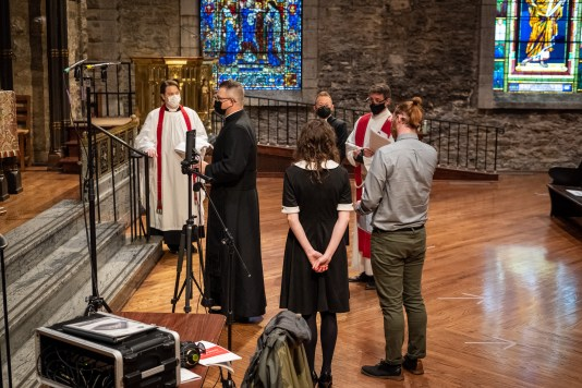 Rehearsal. The Ordination of Isaac Ross Petty to the Sacred Order of Priests at Grace and Holy Trinity Cathedral, Kansas City, Missouri. Image credit: Gary Allman
