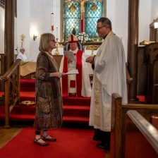 Presentation of oil. The Installation of the Rev. Isaac Petty as Priest in Charge at St. Luke's Episcopal Church, Excelsior Springs, Missouri. Image credit: Gary Allman