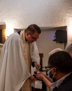 Fr. Isaac's first Holy Communion as Vicar of St. Luke's. The Installation of the Rev. Isaac Petty as Priest in Charge at St. Luke's Episcopal Church, Excelsior Springs, Missouri. Image credit: Gary Allman