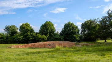 The excavated earth. The pile was huge, and there are plans to sell it. Image: Gary Allman