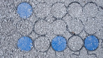 The plastic grid also marks the parking bays. Image: Gary Allman