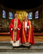 Fr. Ryan and Bishop Marty. -Ordination of Ryan David Wiksell to the Sacred Order of Priests at Grace and Holy Trinity Cathedral, Kansas City, Missouri. October 2, 2021. Image credit: Gary Allman
