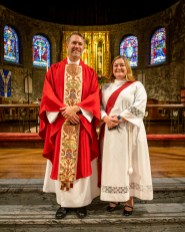 Fr. Ryan and Seminary classmate. - Ordination of Ryan David Wiksell to the Sacred Order of Priests at Grace and Holy Trinity Cathedral, Kansas City, Missouri. October 2, 2021. Image credit: Gary Allman