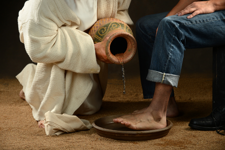 Jesus washes a disciple's feet