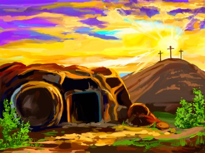 A painting of the empty tomb. Paul teaches about the centrality of Jesus' resurrection and our resurrection as well.