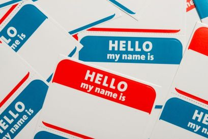 A stack of name tag stickers.