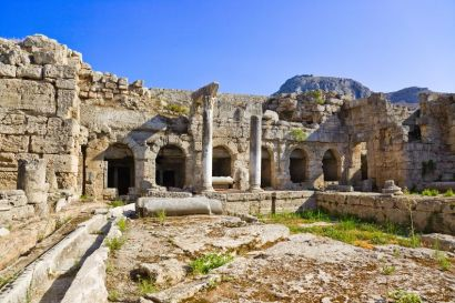 An image of the ancient Roman baths in Corinth, Greece.