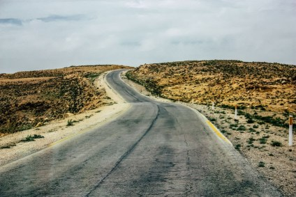 Road through the wilderness in Israel. On an ancient road, Philip and a man from Ethiopia met.