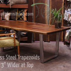 Kitchen Table Legs Grohe Faucets And Bases For Hardwood Slab Tops Custom Made 1 X 3 Steel Brushed Stainless Trapezoid On Live Edge Black Walnut