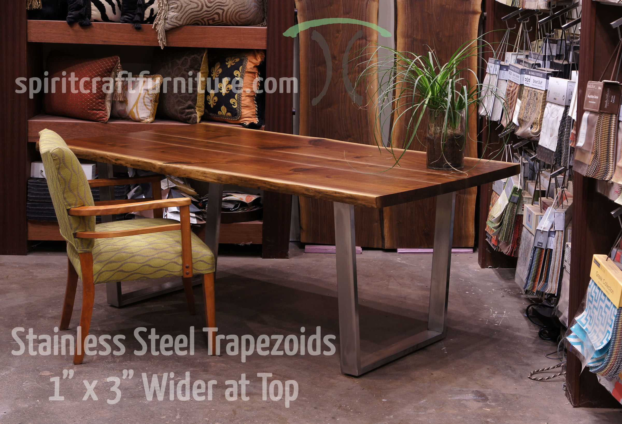 kitchen table legs how to renovate a and bases for hardwood slab tops custom made 1 x 3 steel brushed stainless trapezoid on live edge black walnut